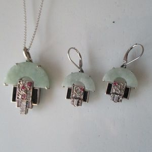 925 Sterling Silver Pendant and Dangle Earring Set